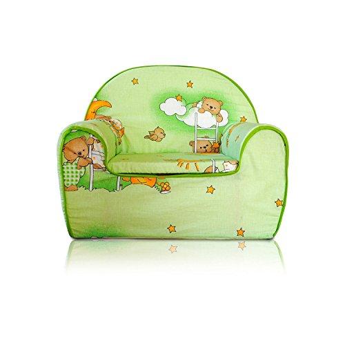 Fauteuil pour enfant Canapé Siège enfant en mousse lavable Déhoussable et lavable + Coussin Ours vert