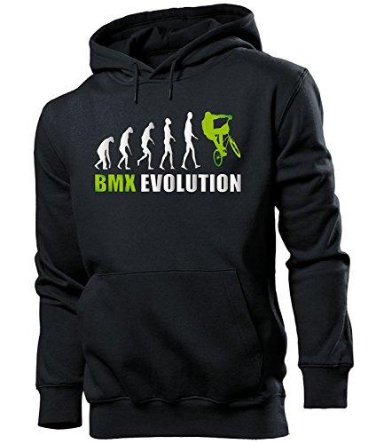 love-all-my-shirts BMX Evolution 551 Radsport Männer Herren Hoodie Pulli Kapuzen Pullover Kapuzenpullover Sportbekleidung Sport Schwarz aufdruck Grün S