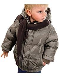 Chaqueta de invierno infantil con capucha, diseño camuflaje en tonos marrones