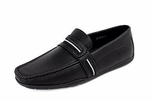 Chaussures De Bateau Pour Hommes À Enfiler Mocassins Semelle Caoutchouc Décontracté Chic Moccasin Pont De Travail Noir