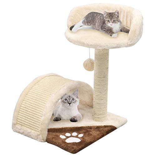 Festnight- albero per gatti con tiragraffi in sisal 40cm beige e marrone