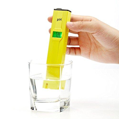 hibotePH Elektrische Wasserzähler Wasserqualität Tester Pocket Digital Genauigkeit von 0.1ph mit LCD Anzeige Gelb