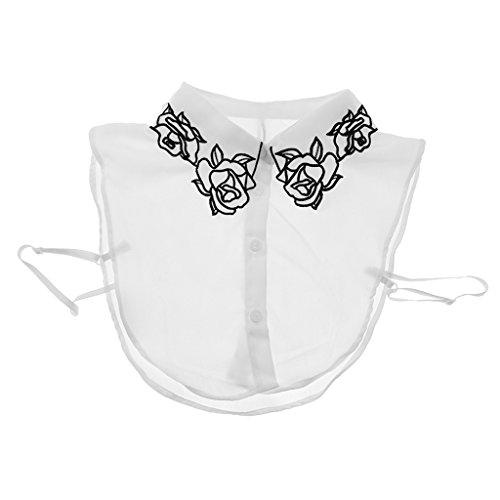 Sharplace Cuello Collar Falso Suave Mujer Peter Pan Comodo Gasa Blusa Medias Camisas Escondido Dentro de Ropa - Estilo 1-Blanco, Único