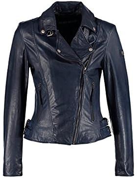 DashX Ladies Leather Zipper Jacket Motocicleta Biker Short Coat Azul