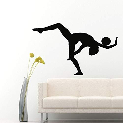 woyaofal Ballerino di Salto Personalizzato Adesivo da Parete Vinile Adesivo Studio di Danza Camera da Letto Complementi arredo casa Adesivo De Parede Vinilos Parede Murale 53X38cm