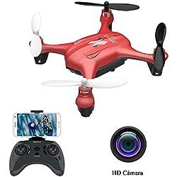 ATOYX AT-96 Drone Cámara HD, RC Mini Drone, 3D Flips, Modo sin Cabeza con App WiFi FPV 2.4Ghz, Altitud Hold, Una Tecla de Despegue y Aterrizaje de Gravedad, Mejor Regalo, Rojo