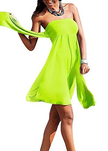 Donna Abito Capestro Colore Puro Senza Maniche Vestito Spiaggia Fluorescent Giallo
