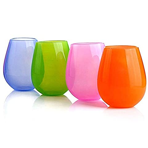 Wolecok Set of 4 Silicone Unbreakable Wine Glasses Collapsible Stemless