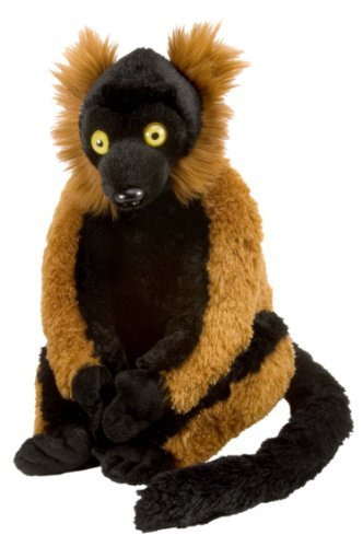 Wild Republic 10946 - Cuddlekins roter Vari Lemur, Plüschtier, 30 cm (Ruffed Lemur)