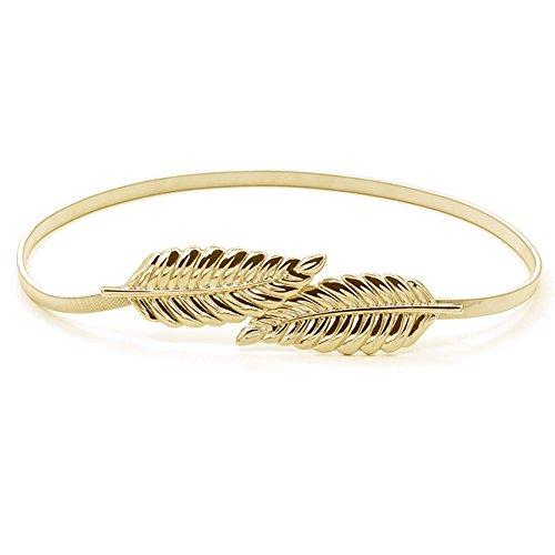 iShine cinturones mujer fiesta Moda Estilo del Metalico Estiramiento Elástico de la Cintura la Pretina, 2 colores,oro y plata