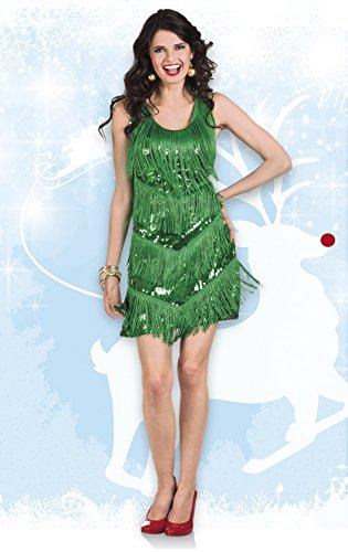 erdbeerloft - Damen Mini Paillettenkleid mit Fransen, Grün, One Size - 3