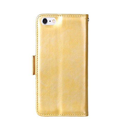 iPhone Case Cover Solid Folio couleur Stand Wallet Case Avec 3 Card 1 Cash Slots latérale magnétique Buckle Pattern Case pour IPhone 6 6S ( Color : Red , Size : IPhone 6 6S ) Gold