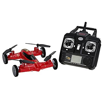 Syma X9 Air-Ground Flying Car With 360 Degree 3D Flips Function 2.4G 4CH 6-Axis Gyro RC Quadcopter (Red Version) HTUK®