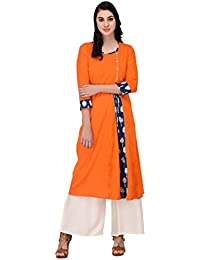Inaayo Women's Cotton 3/4 Sleeve Printed Straight Kurti