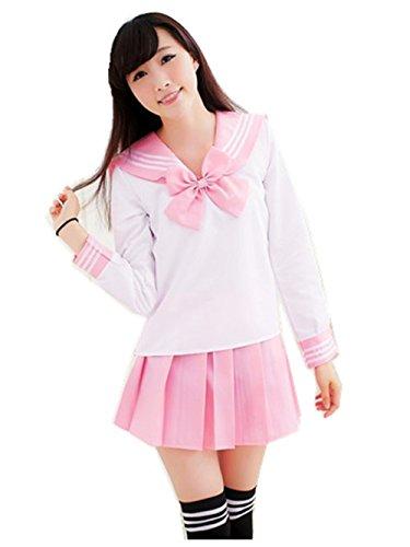 Crazy lin Schöne Japan Schuluniform Studenten Uniform Set Matrosenanzug Cosplay Kostüme (Rosa, S)
