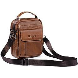 Hengying Bolso Para Hombre Piel Bolso mensajero pequeño bolsa de cuero hombre Riñonera Bolso bandolera Bolsa de Hombro Estilo Vintage bolsa cruzada cuerpo bolsa de Cinturón