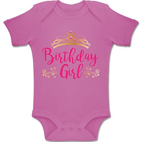 Shirtracer Geburtstag Baby - Birthday Girl Krone - 12-18 Monate - Pink - BZ10 - Baby Body Kurzarm Jungen Mädchen (Girl Geburtstag-thema-ideen Baby 1.)