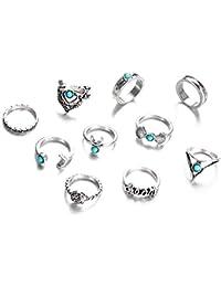 19e0ed06599d 10 piezas Set bohemio Vintage media luna común anillo de nudillo conjuntos  anillos de los