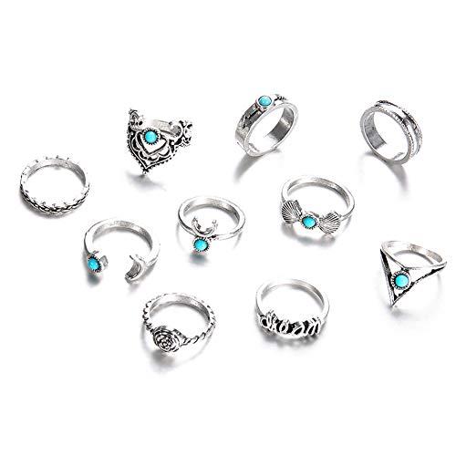 10 piezas/Set bohemio Vintage media luna común anillo de nudillo conj