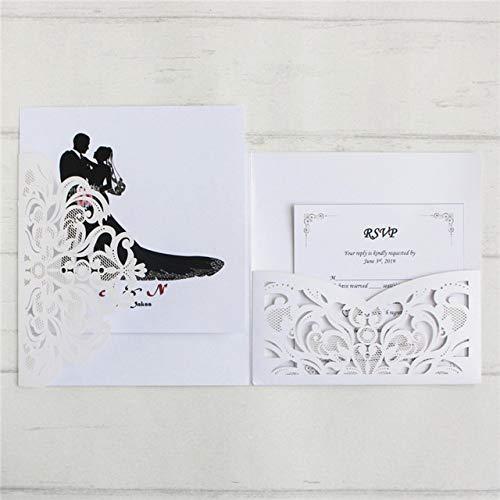 ZheQR Einladung der Karte 10pcs für Hochzeitsbrautpartylaser Schnitt dreifachgefaltete Geburtstags-Abschlussereignisgrußkarte der Tasche, Weiß, Tasche Plus schlägt EIN (White Pocket Einladungen)