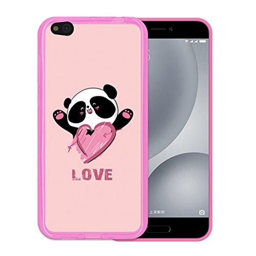 Xiaomi Mi 5c Hülle, WoowCase Handyhülle Silikon für [ Xiaomi Mi 5c ] Pandabär und Liebesherz Handytasche Handy Cover Case Schutzhülle Flexible TPU - Rosa