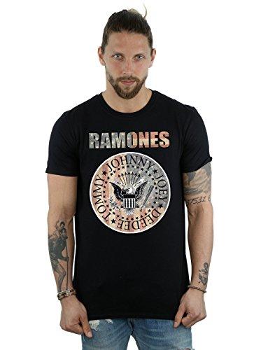 Ramones Hombre Flag Seal Camiseta XX-Large Negro