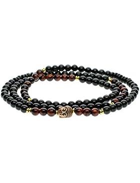 COAI® 108 6mm Obsidian Rotes Tigerauge Buddha-Zubehör Buddhistisches Wickelarmband Halskette für Damen/Herren
