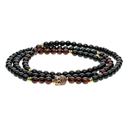 108 Perles Bracelet/Collier Mala 6mm Pierres Naturelles Obsidienne Noire Œil de tigre Rouge Perles de Méditation Unisexe
