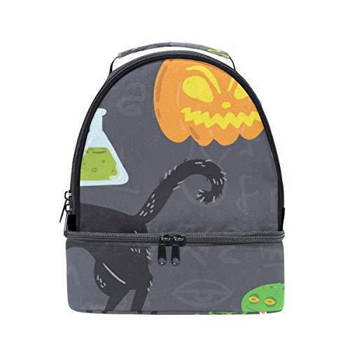 TIZORAX Halloween-Lunchtasche mit Kürbis-Motiv, isoliert, Picknick-Tasche, Schule, Kühltasche für Männer und Frauen