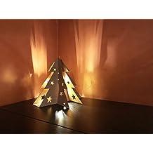 Albero di Natale da tavolo in cartone, lampadina inclusa - alt. 30 cm (Avana)
