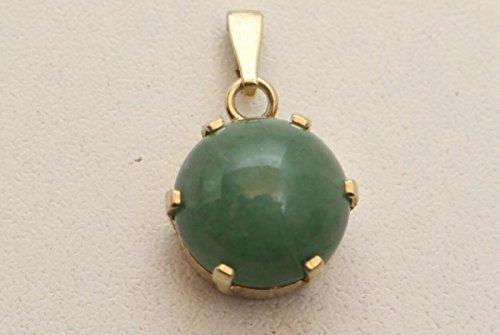 vintage13.de Bel Ciondolo con Pietra Verde Giada Argento 925 Placcato Oro.