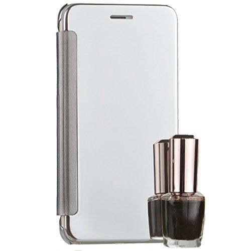 GrandEver iPhone 7 Plus Hülle Glatt Ledertasche Spiegel Design Schutzhülle einfarbig Farbe Bookstyle Lederhülle Umschlag Stil Flip Case Cover mit Hartschale Backcover Hardcase Etui - Silber Silber