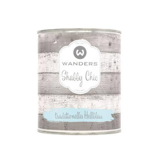Wanders24® Shabby Chic (750 ml, traditionelles Hellblau) Kreidefarbe für Shabby Chic - chalk paint - Vintage Farbe - Farbe für Holz - Made in Germany