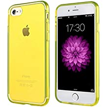 Funda iPhone 7 YELLOW, The Flame Store de silicona (TPU) Anti-deslizamiento Protección Suave Caso Completo Ultra-delgado Slim Fit