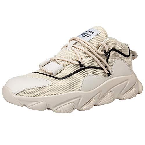 CUTUDE Schuhe Sneakers Herren, Textil Schuhe Footballschuhe Trekking Sportschuhe Turnschuhe Gymschuhe Herrenschuhe Herrenschuhe Sommerschuhe Atmungsaktiv Baseballschuhe (Beige, 43 EU) -