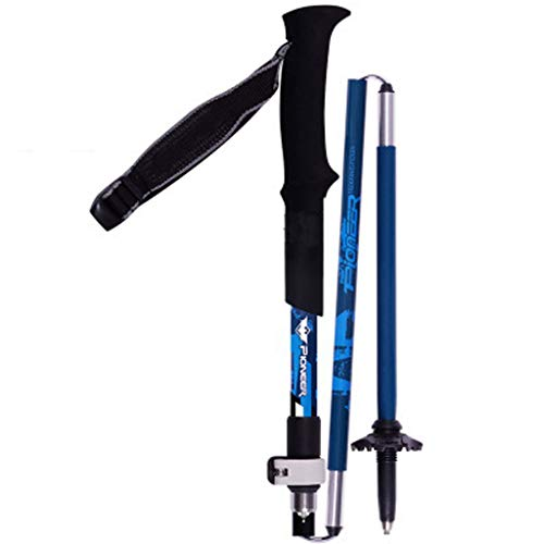 YDS SHOP Trekkingstock, Ultraleichter Outdoor-Teleskop-Trekkingstock mit Carbon-Sperre, Trekking-Skitrekkingstock (Color : Blue)