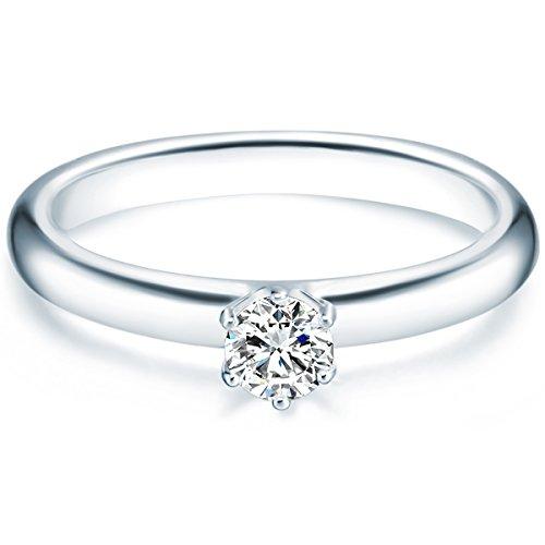 Tresor 1934 Annelli da Donna / Anello di fidanzamento / Solitario in Argento Sterling 925 con rodio Zircone bianco Taglia 12 60451011