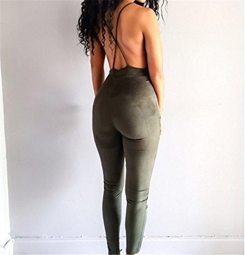 Femmes Sexy Deep V-cou sans manches Backless Slip stretch Nightclub Jumpsuit Vert