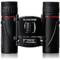 Binoculares de Suncore HD 10x22 Telescopio de círculo Rojo a Prueba de Agua Gafas de Campo portátiles para Viajar Senderismo Deportes