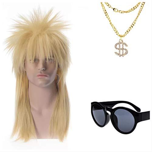 Kostüm Moderne Rocker - thematys 80er Jahre 3er Set - Perücke Vokuhila, Piloten-Brille, Gold-Kette - 80er Kostüm für Erwachsene - perfekt für Fasching, Karneval & Cosplay - Damen Herren