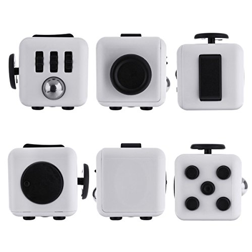 Kayos Anti Stress Fidget Cube, Reduces Stress and Anxiety for Children and Adults, Ideal for ADHD, ADD, OCD and Autism (White-Black)