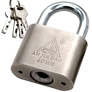 Padlock,Chrome Steel Body Keyed Different Padlock, 1-inch Shackle, 1.5-inch Wide