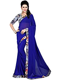 [Sponsored]Vastrang Sarees Women's Georgette Plain Saree WIth Digital Printed Lace Border_1001