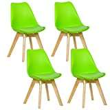 WOLTU® 4er Set Esszimmerstühle Küchenstuhl Design Stuhl Esszimmerstuhl Kunstleder Holz Grün BH29gn-4