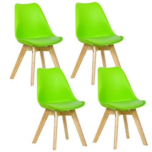 WOLTU 4er Set Esszimmerstühle Küchenstuhl Design Stuhl Esszimmerstuhl Kunstleder Holz Grün...