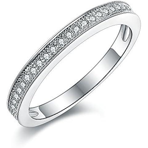 Milligrana da donna, in argento STERLING, pavé Anello donna Eternity per anniversario in stile Vintage con finti diamanti Anello a fascia con marchio 925.