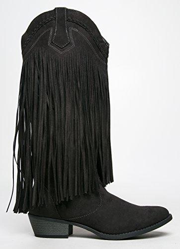 Qupid, Damen Stiefel & Stiefeletten Black Suede Pu