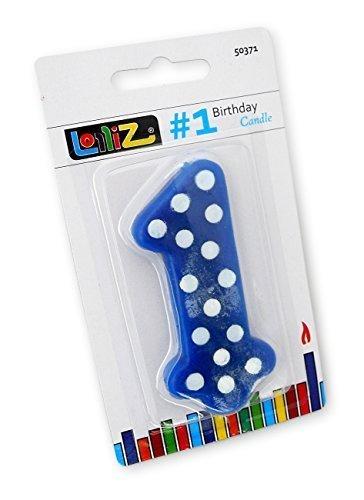 LolliZ - Vela n.º 1 primer cumpleaños. 1 unidad. Azul con lunares blancos. Diseño único y novedoso.