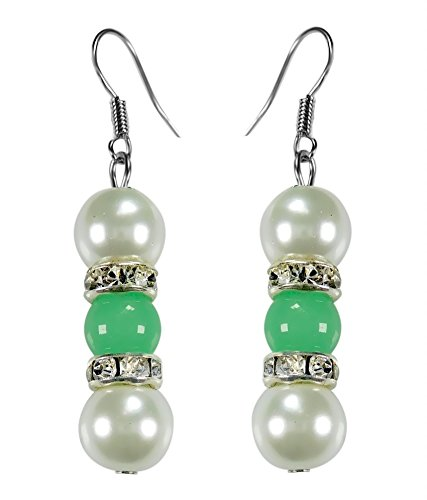 CRYSTAL & BEADS Onyx Green Colour Round Moonball & White Colour Pearl with Diamond Spacer Earring