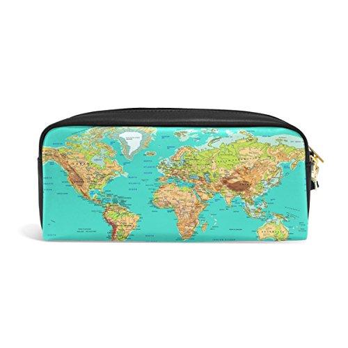 zzkko Educational Welt Weltkarte Leder Reißverschluss Federmäppchen Pen Stationäre Bag Kosmetik Make-up Bag Tasche Geldbörse (Weltkarte Stationären)
